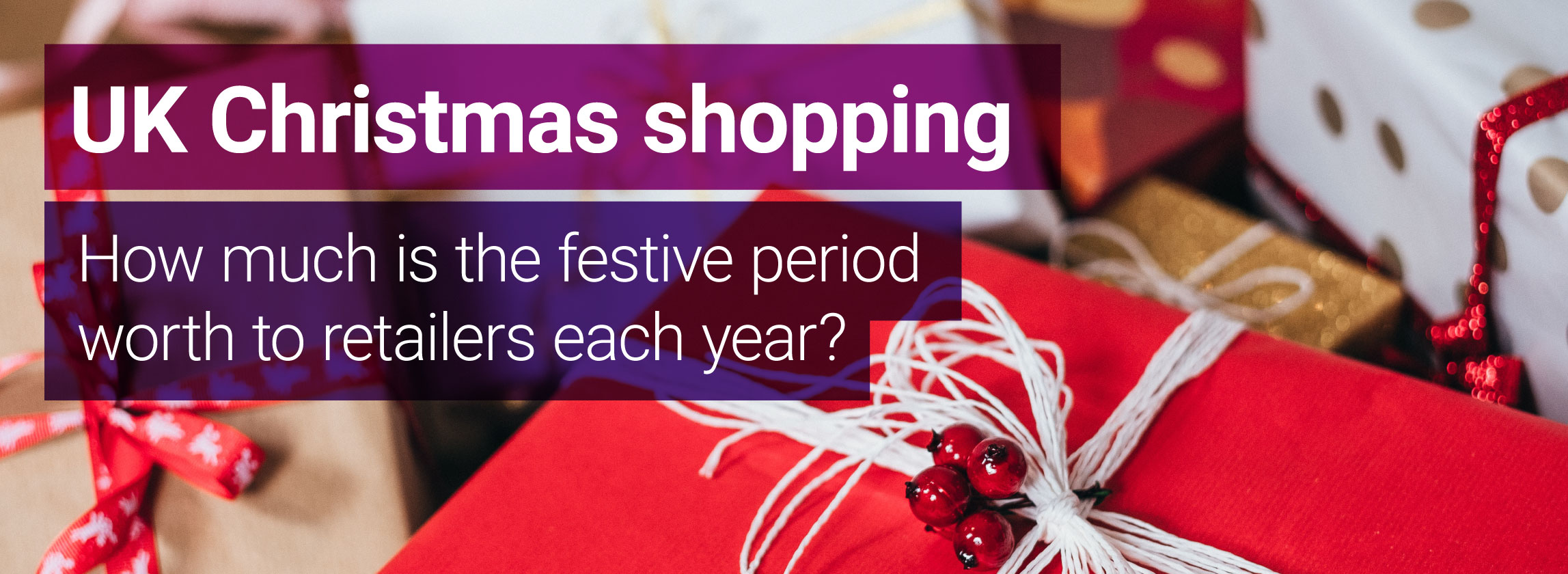 UK Christmas shopping image with wrapped festive presents